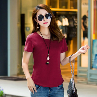 Loose simple cotton new Plus-sized Korean-style short sleeved t-shirt Short sleeve Top (Wine red color) (Wine red color)