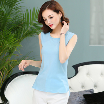 Loose simple cotton short sleeved female T-shirt sleeveless bottoming shirt (Light blue) (Light blue)