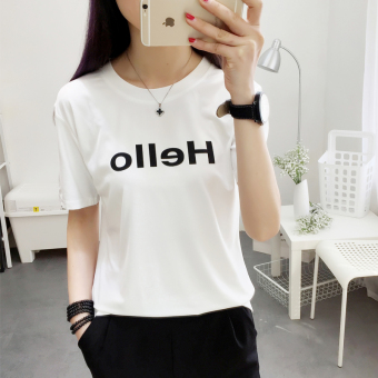 Loose spring New style lettered printed T-shirt (White) (White)