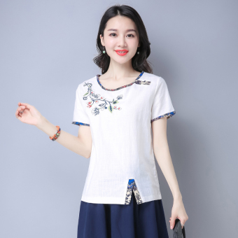 Loose stitching embroidered female slimming Top T-shirt (White) (White)