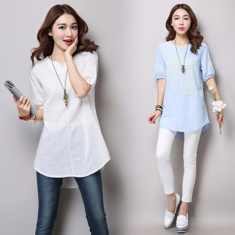 Loose stitching linen Plus-sized thread empty T-shirt Linen Top (Blue)