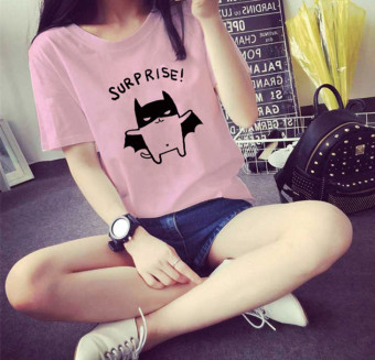 Loose summer New style short-sleeved female bottoming shirt T-shirt (Peach Powder)