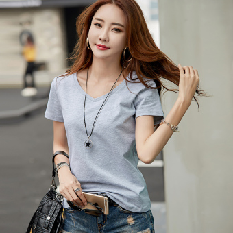 Loose White Summer v-neck short-sleeved t-shirt (Gray)