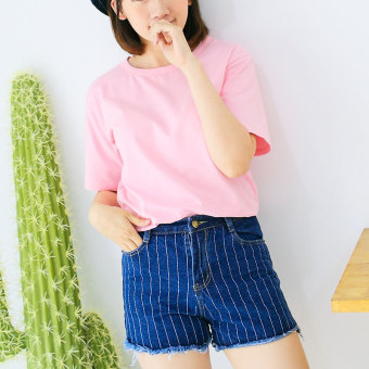 Loose wild cotton short-sleeved female Top T-shirt (Pink color)