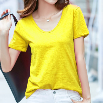 Loose wild cotton solid color V-neck T-shirt (Light yellow)