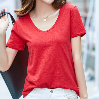 Loose wild cotton solid color V-neck T-shirt (Red)