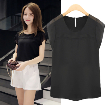 Loose wild female short-sleeved New style round neck bottoming small shirt chiffon shirt (Black)