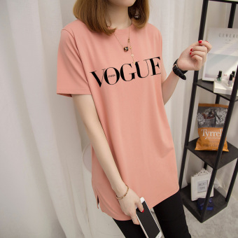 Loose wild female short-sleeved Print long section Korean-style Top summer New style T-shirt (Champagne powder-black letter)