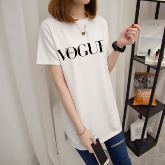 Loose wild female short-sleeved Print long section Korean-style Top summer New style T-shirt (Pearl White-black letter)