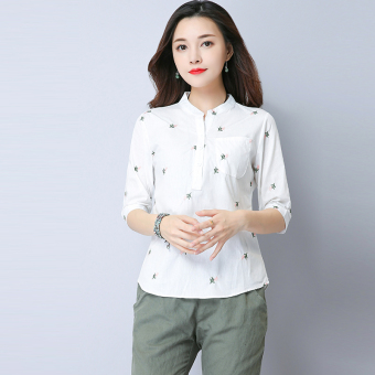 Loose wild Linen collar length sleeves Top T-shirt shirt (White)
