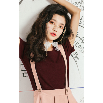 Love pill Korean-style female short-sleeved New style student Short sleeve Top T-shirt (Wine red color-spot limited edition slightly)