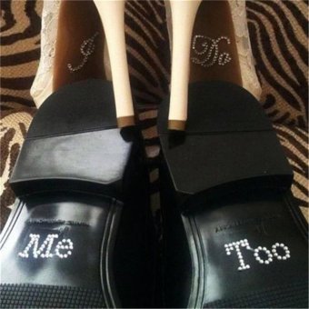 Lovely I Do & Me Too Set Bridal and Groom Shoes Sticker WeddingAccessory Decal White - intl