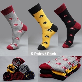 Loveu Store 5 Pairs Men's Cotton Stockings Socks Top Quality Men'sSports Socks Supper Strong Basketball Football Stocking, AutumnWinter Model Men Socks Cotton British Long Men Socks College TubeSocks Cotton Leisure Socks - intl