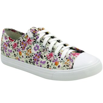 Low Cut High Quality Sneakers Women's Floral Casual Shoes F201(White/Pink)