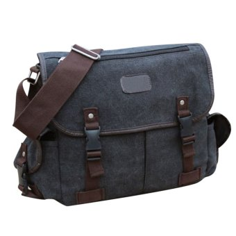 LT365 Popular Men's Casual Style Canvas Cross Body Bag Flip Over Satchel Messenger Shoulder Bag - Black