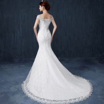 Luxury long tail wedding dress lace wedding gown - Intl Price Philippines