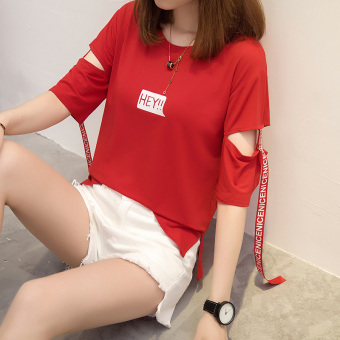 Lvka Women's Loose Letter-print Ripped Half Sleeve T-Shirt Color Varies (613 * red)