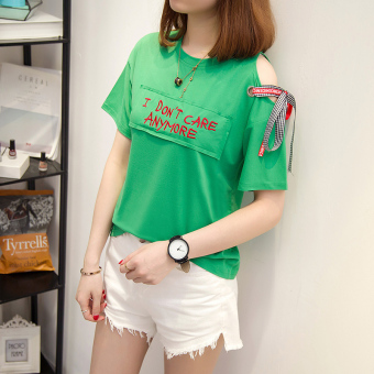 Lvka Women's Loose Letter-print Ripped Half Sleeve T-Shirt Color Varies (616 * green)