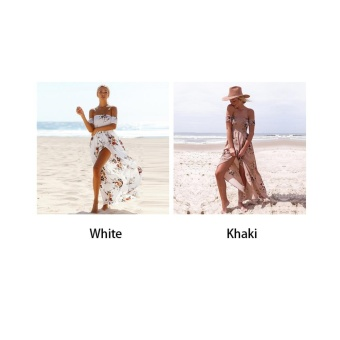 Makiyo Women Summer Casual Off Shoulder Floral Print Short Sleeve Long Maxi Beach Dress For Travel Vacation (White) - intl - 3