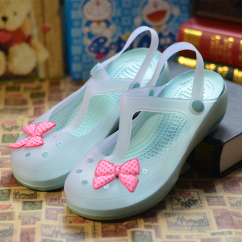 Malizhen color changing jelly sandals porous shoes (Water green)
