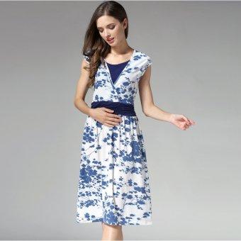 MamaLove summer Maternity Dresses Nursing pregnant dressMaternityBreastfeeding Nursing Clothes for pregnant women(Blue)Fit(M~XL) - 4