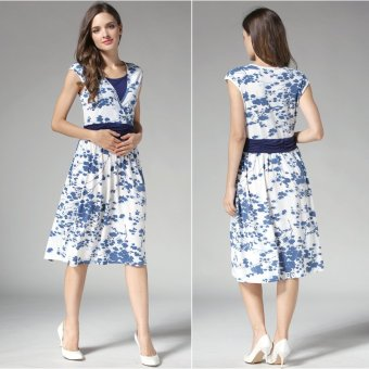 MamaLove summer Maternity Dresses Nursing pregnant dressMaternityBreastfeeding Nursing Clothes for pregnant women(Blue)Fit(M~XL) - 3