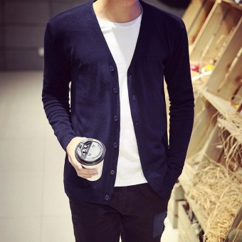 Man Cardigan Good Qualit Knitwear Solid Color Autumn Spring Winter Knit Single Breasted Buttons Slim Long Sleeve Fashion Men Sweater(Navy)
