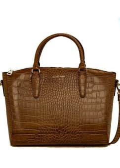 Mango Croc-Effect Tote Bag (Brown)