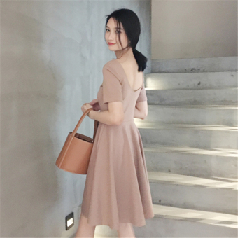 MAQuillAGE sexy backless slimming large collar T-shirt umbrella skirt short sleeved dress (Khaki)