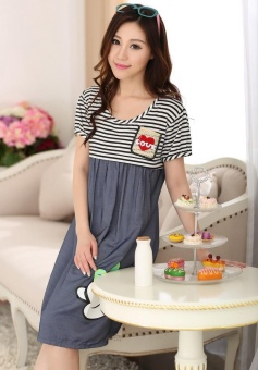 Maternity Clothing Casual Women Clothes Striped Maternity DressNursing Dress Long-Sleeve Pregnant Women Breastfeeding Dress - intl - 5