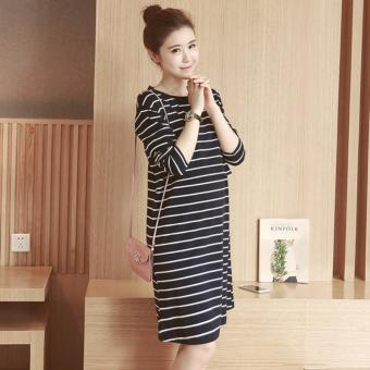 Maternity Dress Striped Long Sleeve Nursing Dress Pregnant Clothes - intl