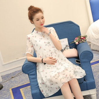 Maternity summer fashion floral chiffon pregnant women dress Grew up in han edition easing code pregnant women dress - intl