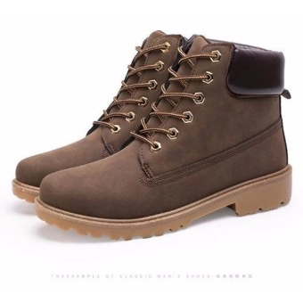 Max Collection Fashion Genuine Leather Dr Martin Boots Warm FurHigh Top Casual Martin Shoes Men Boots Ankle Motorcycle BootsLelaki Boots Buku Lali (Brown) - intl