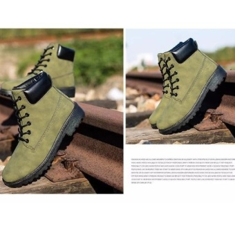 Max Collection Fashion Genuine Leather Dr Martin Boots Warm FurHigh Top Casual Martin Shoes Men Boots Ankle Motorcycle BootsLelaki Boots Buku Lali (Green) - intl - 3