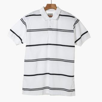 Maxwear Mens Striped Polo Shirt (White)