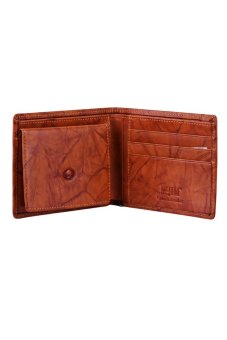 McJIM W-28-2053CH Crunch Leather Billfold Wallet (Tan)