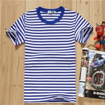 Meihua brand short sleeved Short sleeve t-shirt navy-striped shirt