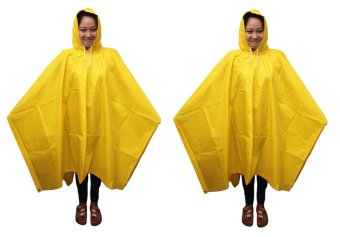 Meisons Best Quality Rain Coat Poncho Type Set of 2 (Yellow)