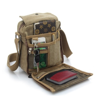 Men and women casual small messenger bag version of canvas bagshoulder bag men bag outdoor multi-purpose travel bag(khaki) - intl Price Philippines