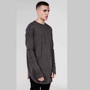 Men and women with hip-hop mittens hem arc cotton long sleeve T-shirt - intl
