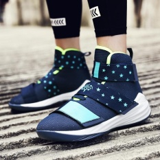 lebron velcro shoes. men and women\u0027s couple fashion lebron james high top velcro damping basketball shoes(navy blue) - intl lebron shoes