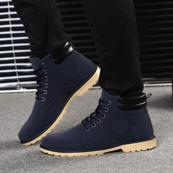 Men Ankle Boots Fur Lined Winter Autumn Warm Shoelace Martin Boots Shoes - intl