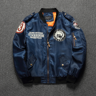 Men badge embroidered jacket flight jacket (Dark blue color)