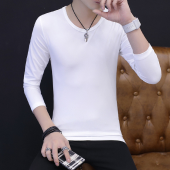 Men base shirt solid color long-sleeved t-shirt (White)