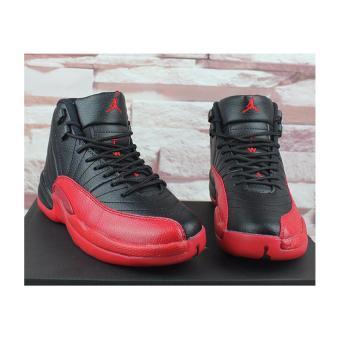 Men Basketball Shoes For Jordan12 Sneakers(Black/red) - intl - 3