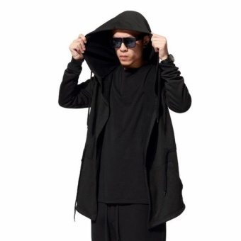 Men Black Cloak Hoodies Long Sleeve Streetwear Hooded Sweatshirts Loose Pullover Outwear for Male - intl