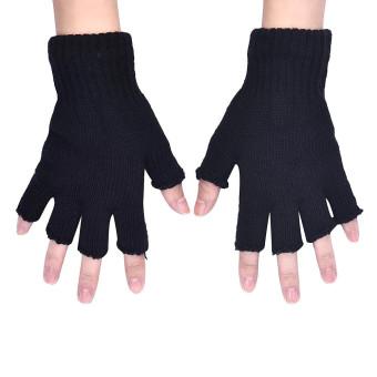 Men Black Knitted Stretch Elastic Warm Half Finger Fingerless Gloves - 2