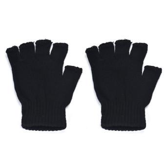 Men Black Knitted Stretch Elastic Warm Half Finger Fingerless Gloves - 5