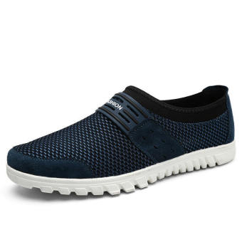 Men Breathable Mesh Lace-Ups Low Cut Sneakers-Dark Blue