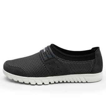 Men Breathable Mesh Lace-Ups Low Cut Sneakers-Dark Grey - picture 2